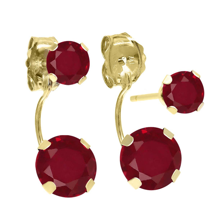 2.70 Ct Round Red Ruby 14K Yellow Gold Earrings