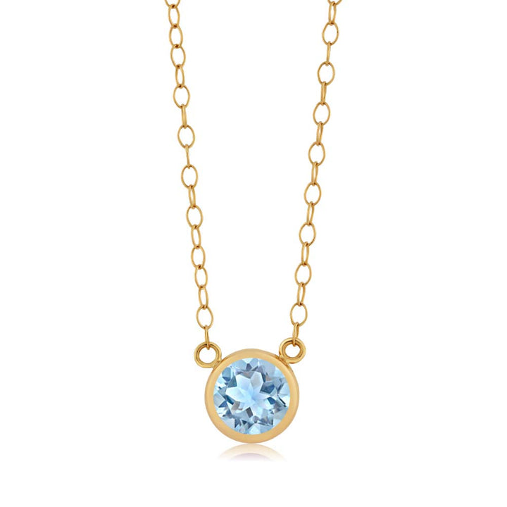 Gem Stone King 0.70 Ct Round Sky Blue Topaz 14K Yellow Gold Pendant With Chain