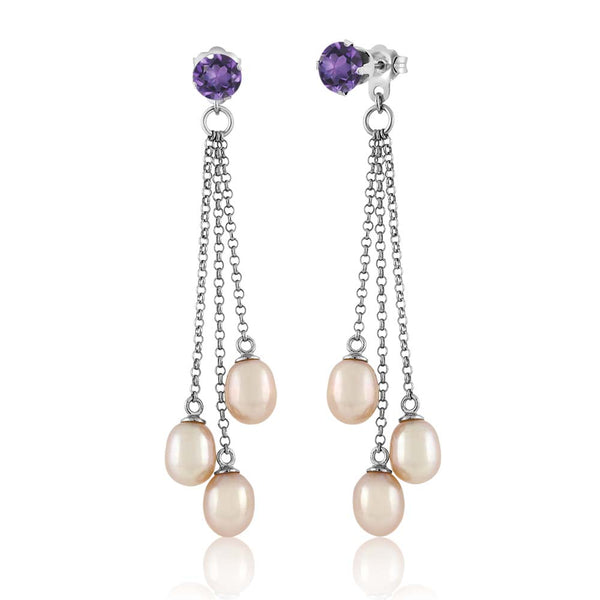 Round  Amethyst & Cultured Freshwater Pearl 925 Silver Dangle Earrings