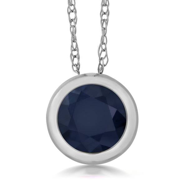 "0.35 Ct 14K White Gold 4MM Blue Sapphire Pendant with 18"" Chain"