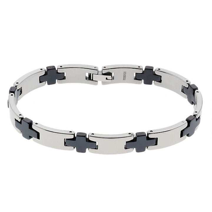 Gem Stone King 8.00 Inch 8.00mm Titanium & Black Ceramic Men's Bracelet