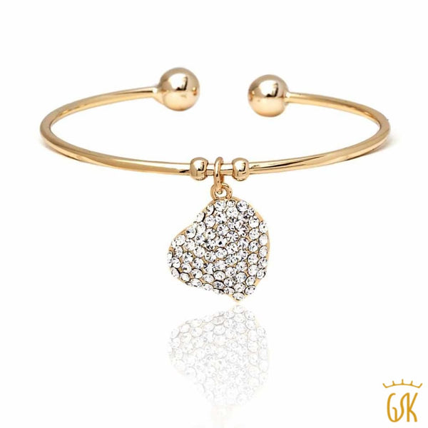289cf516b187c Yellow Gold Plated Open Bangle Bracelet with heart Shape White Crystal  Pendant