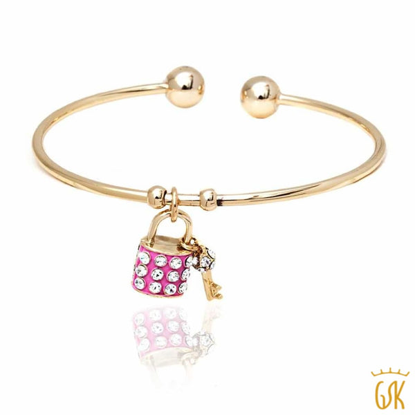 Yellow Gold Plated Open Bangle Bracelet with Pink lock and Key Crystals Pendants