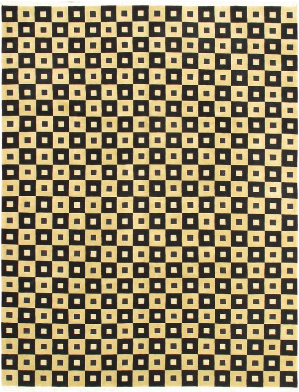 "Hand-knotted  Transitional Aurora Area rug  Black, Light Yellow 9'1 x 11'10"" """