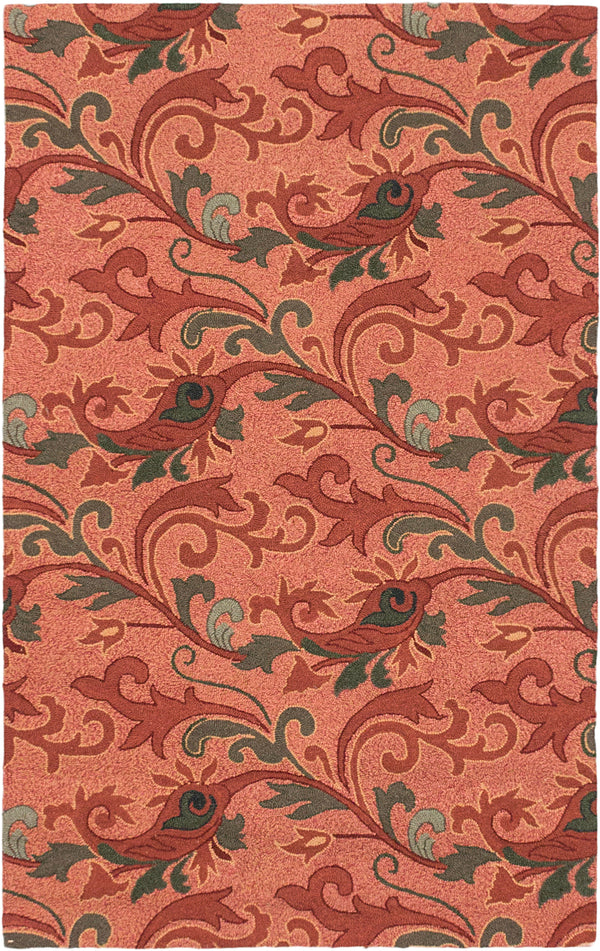 "Hooked Chinese Casual Erman Area rug  Copper 3'6 x 5'6"" """