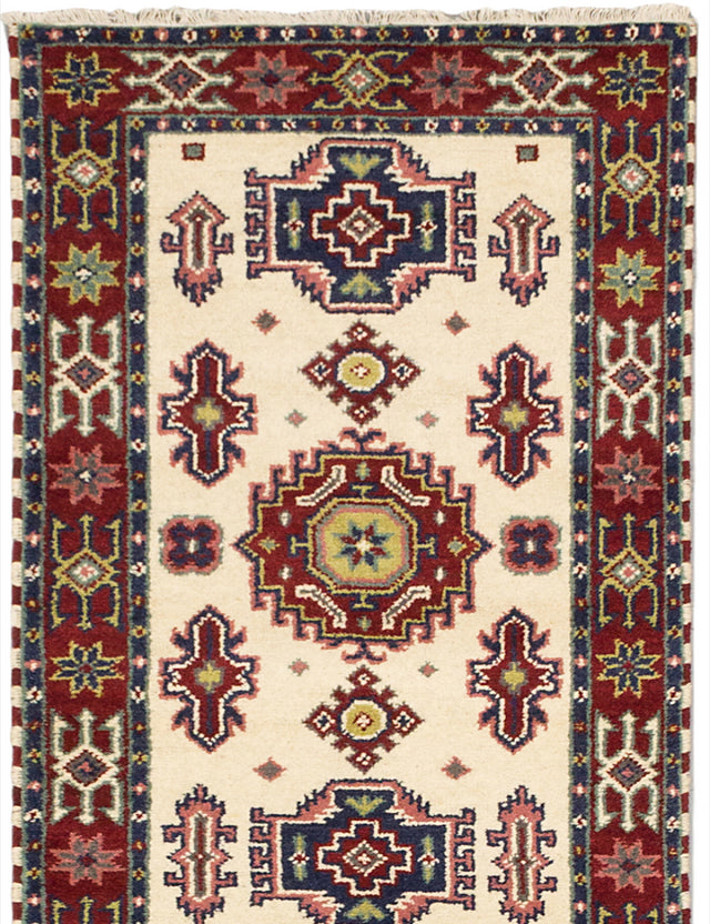 "Hand-knotted Indian Traditional Royal-Kazak Runner rug  Cream, Dark Red 2'9 x 9'10"" """