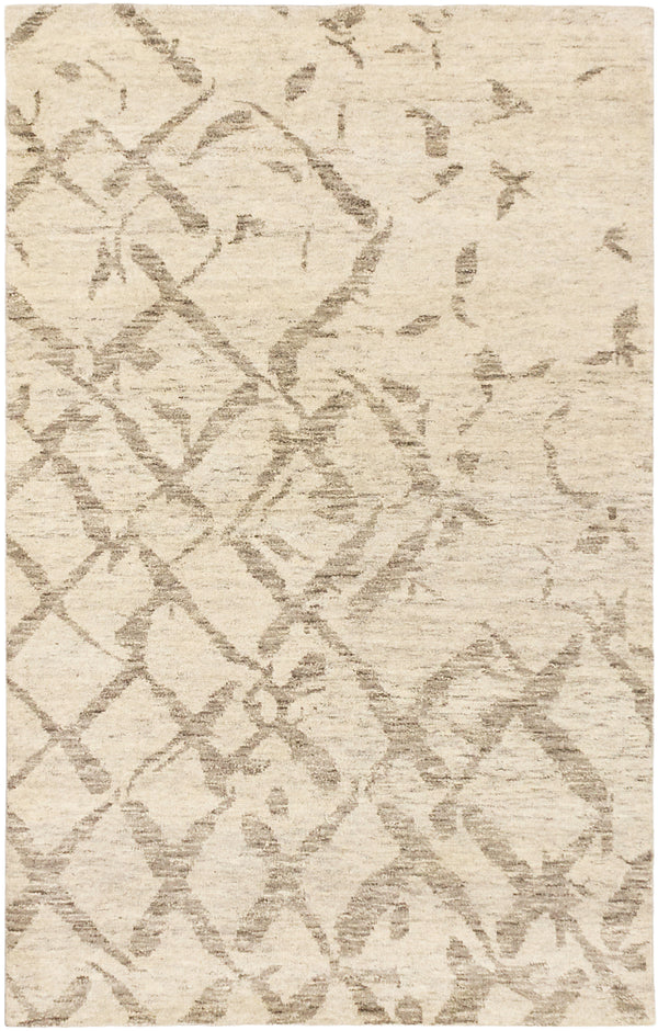 "Hand-knotted moroccan Casual Royal-Maroc Area rug  Cream, Grey 5'0 x 7'10"" """