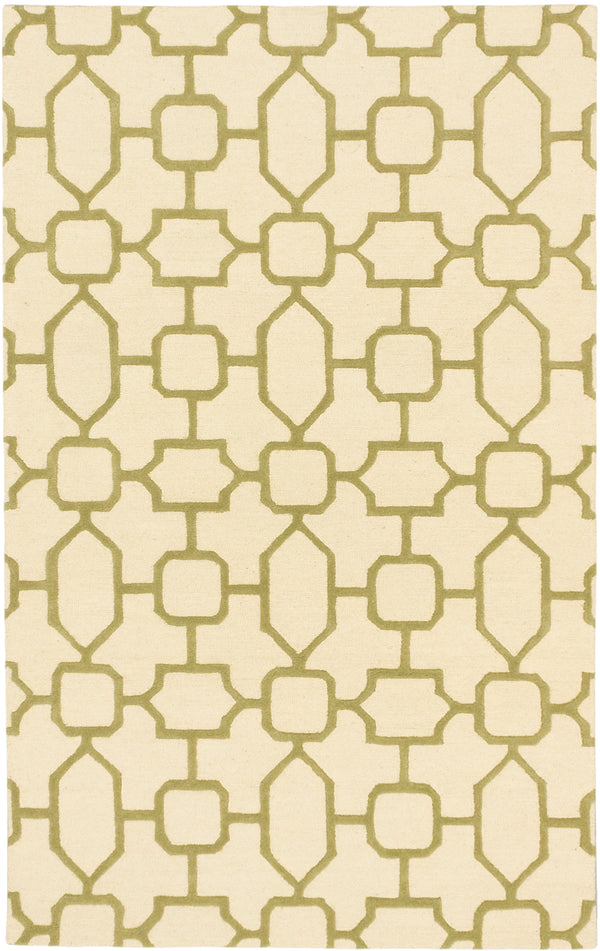 "Hand Tufted Indian Casual Trellis Area rug  Emerald Green, Ivory 5'0 x 8'0"" """