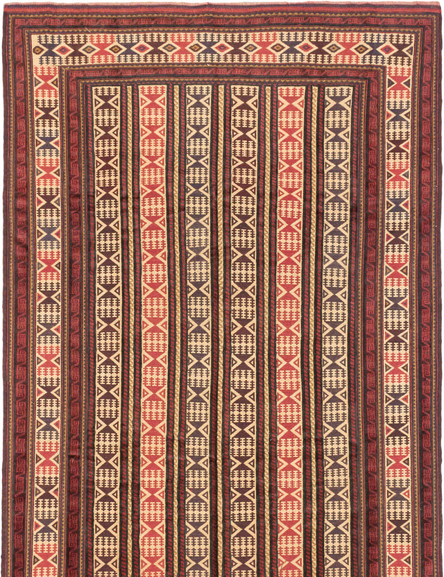 Flat-weave  Bohemian  Traditional Ghafkazi Area rug  Copper, Ivory 6.1 x 9.1