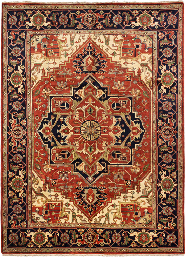 "Hand-knotted Indian Traditional Serapi-Heritage Area rug  Dark Copper 8'11 x 12'0"" """