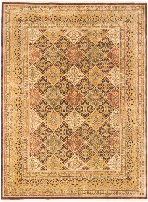 "Hand-knotted Indian Traditional Mirzapur Area rug  Dark Brown, Light Khaki 9'1 x 12'4"" """