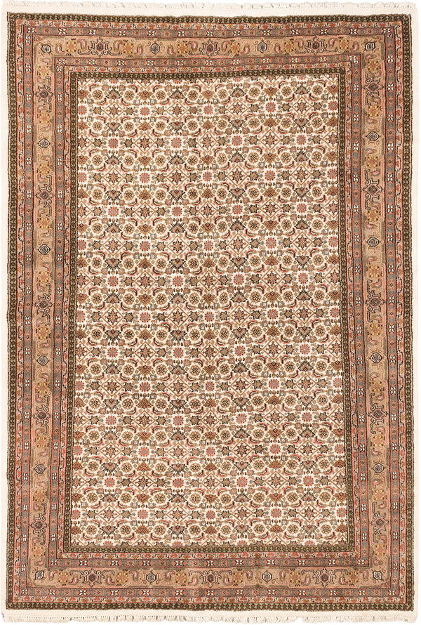 "Hand-knotted Indian Traditional Tabriz-Haj-Jalili Area rug  Cream 6'8 x 9'9"" """