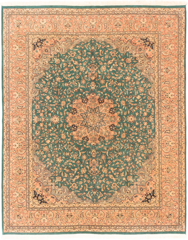 "Hand-knotted Pakistani Traditional Pako-Persian-18/20 Area rug  Green 8'2 x 10'0"" """