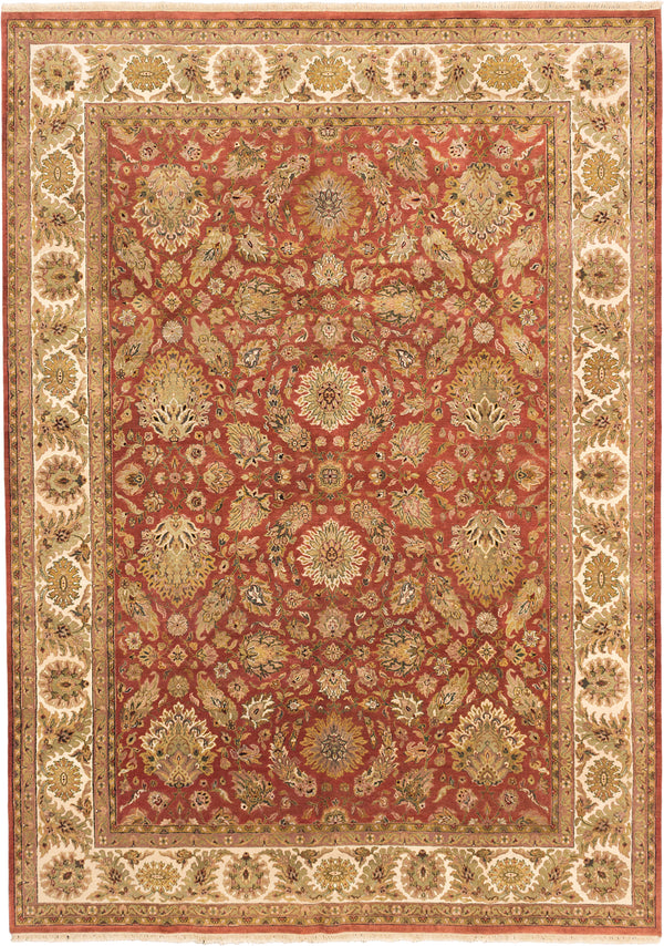 "Hand-knotted Indian Traditional Mirzapur Area rug  Copper 8'10 x 12'3"" """