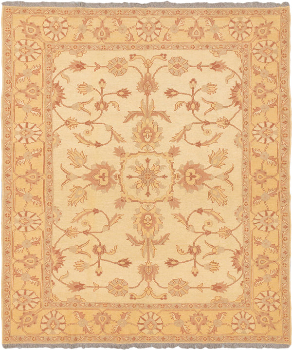 "Flat-weave Afghan Flat-weaves & Kilims  Traditional Chobi-Sumak Area rug  Light Gold, Light Yellow 5'8 x 6'9"" """