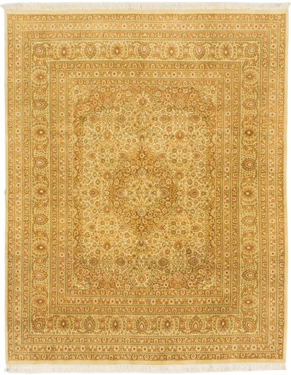 "Hand-knotted Pakistani Traditional Pako-Persian-18/20 Area rug  Cream, Light Brown 7'10 x 10'0"" """