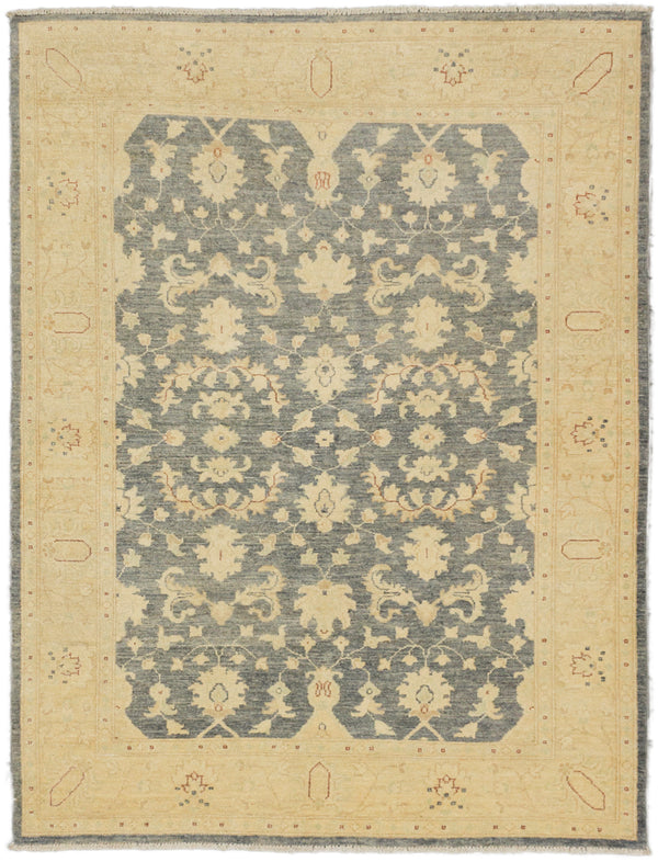 "Hand-knotted Pakistani Traditional Peshawar-Oushak Area rug  Cream, Dark Grey 5'0 x 6'6"" """