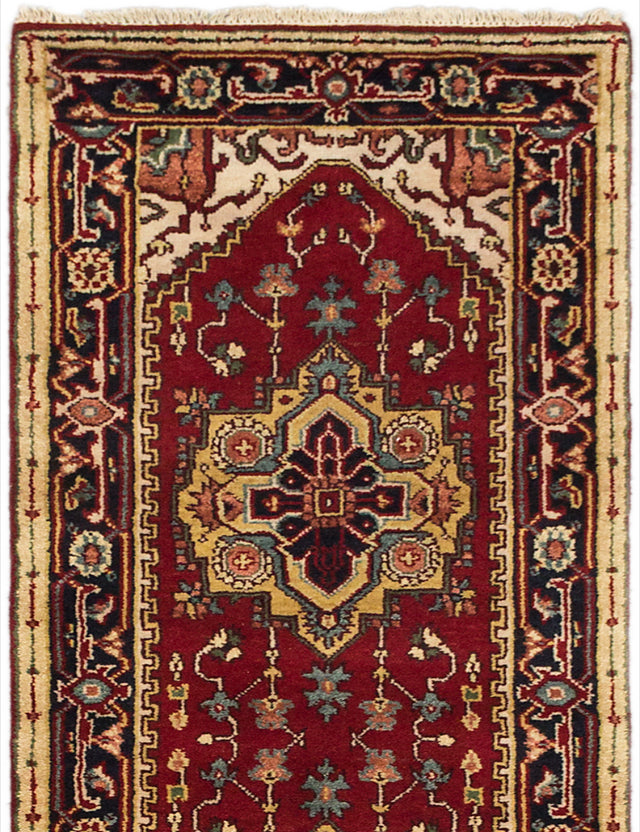 "Hand-knotted Indian Traditional Serapi-Heritage Runner rug  Dark Orange 2'7 x 9'10"" """