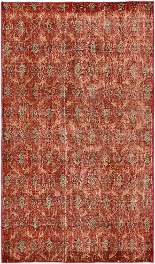 "Hand-knotted Turkish Transitional Anatolian-Overdyed Area rug  Dark Burgundy 3'11 x 6'7"" """