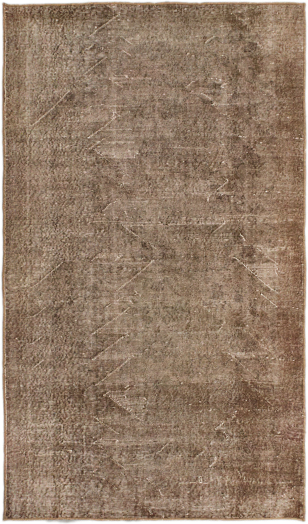 "Hand-knotted Turkish Transitional Anatolian-Overdyed Area rug  Beige, Brown 3'10 x 6'6"" """