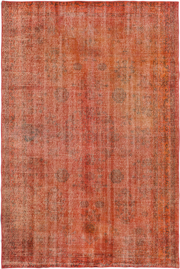 "Hand-knotted Turkish Bohemian  Transitional Anatolian-Overdyed Area rug  Light Red 6'4 x 9'4"" """