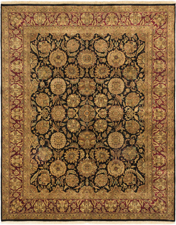 "Hand-knotted Indian Traditional Jamshidpour Area rug  Black, Dark Red 8'1 x 10'1"" """