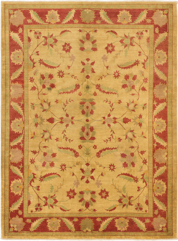 "Hand-knotted Afghan Traditional Chobi Area rug  Light Gold 8'4 x 11'2"" """