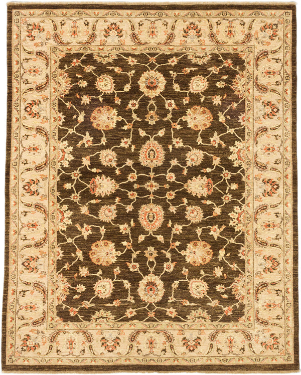 "Hand-knotted Afghan Traditional Chobi-Finest Area rug  Dark Brown 8'0 x 10'1"" """