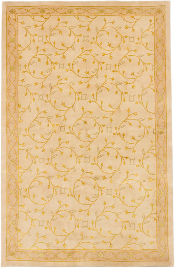 "Hand-knotted  Transitional Silk-Touch Area rug  Ivory 6'7 x 10'3"" """