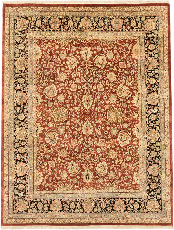 "Hand-knotted Indian Traditional Jamshidpour Area rug  Dark Orange 7'7 x 9'9"" """