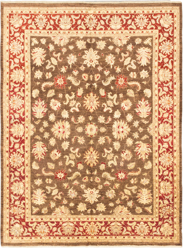 "Hand-knotted Afghan Traditional Chobi-Finest Area rug  Dark Brown 8'11 x 11'8"" """