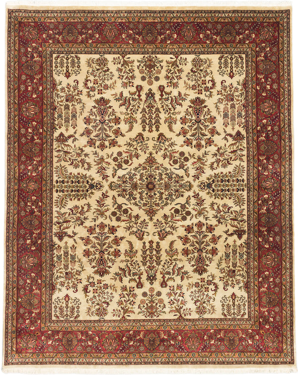 "Hand-knotted Indian Traditional Jamshidpour Area rug  Cream, Dark Copper 8'0 x 9'11"" """