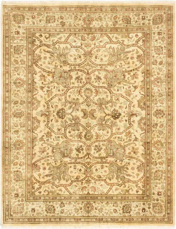 "Hand-knotted Indian Traditional Jamshidpour Area rug  Cream, Dark Khaki 7'10 x 10'0"" """