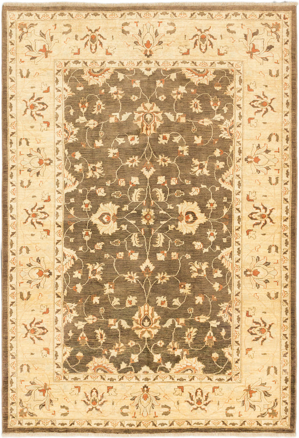 "Hand-knotted Afghan Traditional Chobi-Finest Area rug  Light Yellow, Olive 6'2 x 8'11"" """