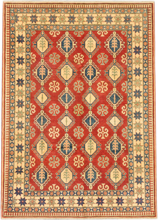 "Hand-knotted Afghan Traditional Finest-Gazni Area rug  Dark Burgundy 6'8 x 9'4"" """