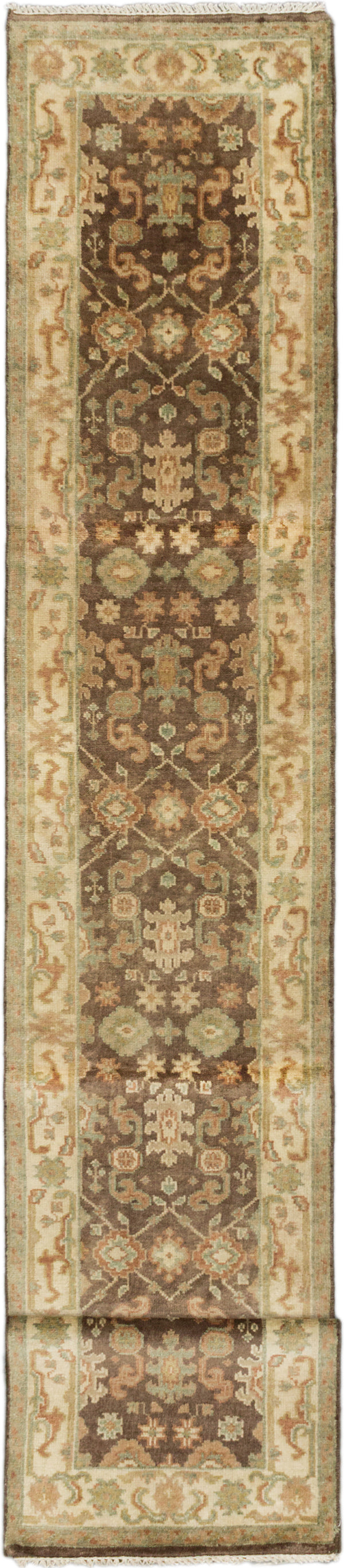 "Hand-knotted Indian Floral  Traditional Royal-Ushak Runner rug  Cream, Dark Brown 2'7 x 15'9"" """