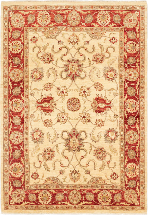 "Hand-knotted Afghan Traditional Chobi-Finest Area rug  Cream, Dark Burgundy 5'8 x 8'3"" """
