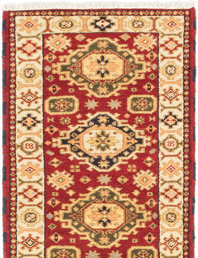 Hand-knotted Indian Geometric  Traditional Royal-Kazak Runner rug  Dark Red 2.8 x 10