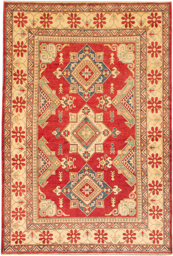 "Hand-knotted Afghan Traditional Finest-Gazni Area rug  Dark Burgundy 7'0 x 10'3"" """