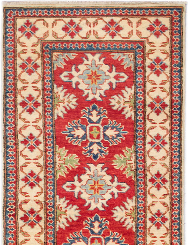 "Hand-knotted Afghan Geometric  Traditional Finest-Gazni Runner rug  Dark Burgundy 2'7 x 12'4"" """