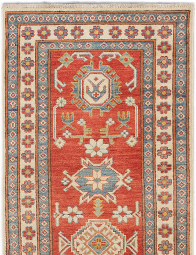Hand-knotted Afghan Geometric  Traditional Finest-Gazni Runner rug  Dark Copper 2.7 x 9.2
