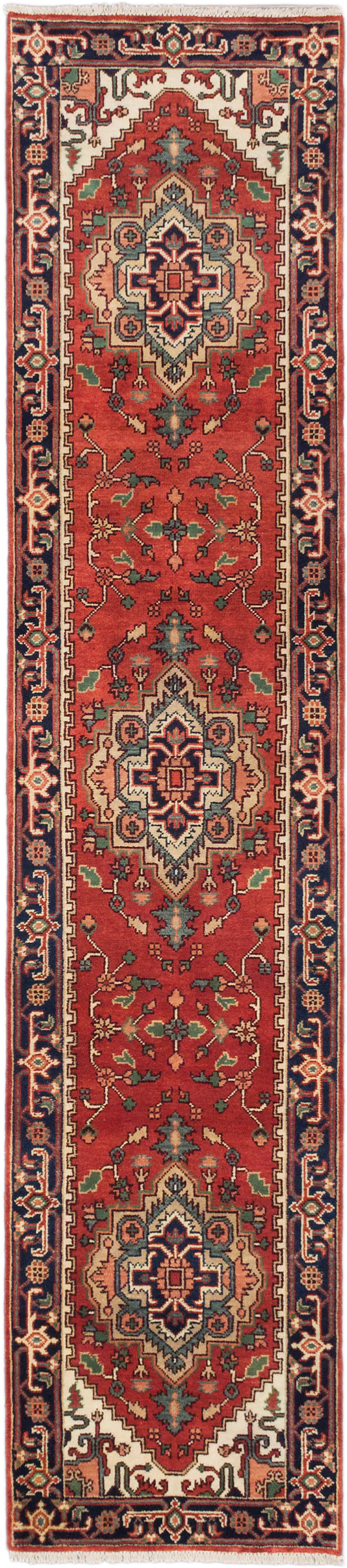 Hand-knotted Indian Floral  Traditional Serapi-Heritage Runner rug  Copper 2.8 x 12.1