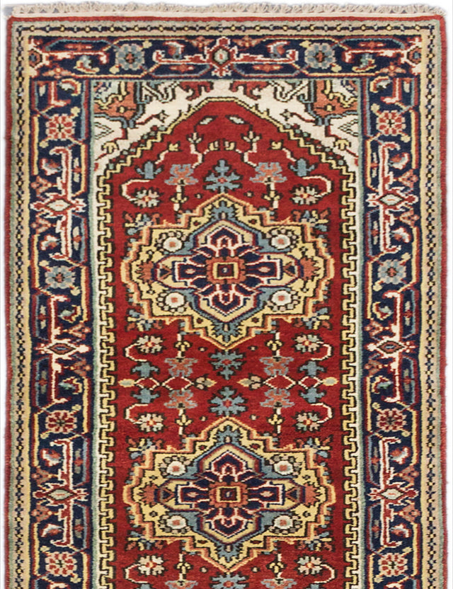 "Hand-knotted Indian Floral  Traditional Serapi-Heritage Runner rug  Dark Copper 2'7 x 11'10"" """