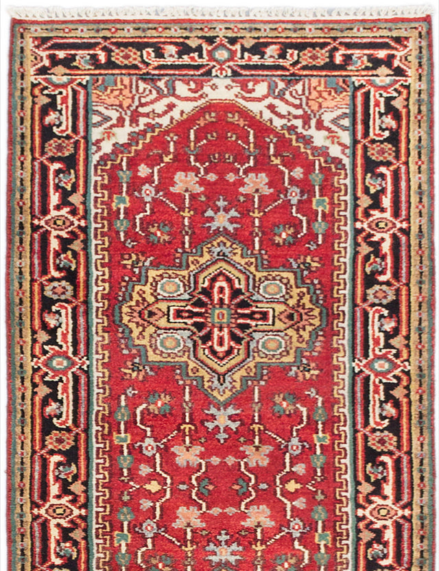 "Hand-knotted Indian Floral  Traditional Serapi-Heritage Runner rug  Dark Copper 2'7 x 9'9"" """