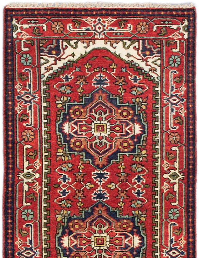 "Hand-knotted Indian Floral  Traditional Serapi-Heritage Runner rug  Dark Copper 2'7 x 9'10"" """