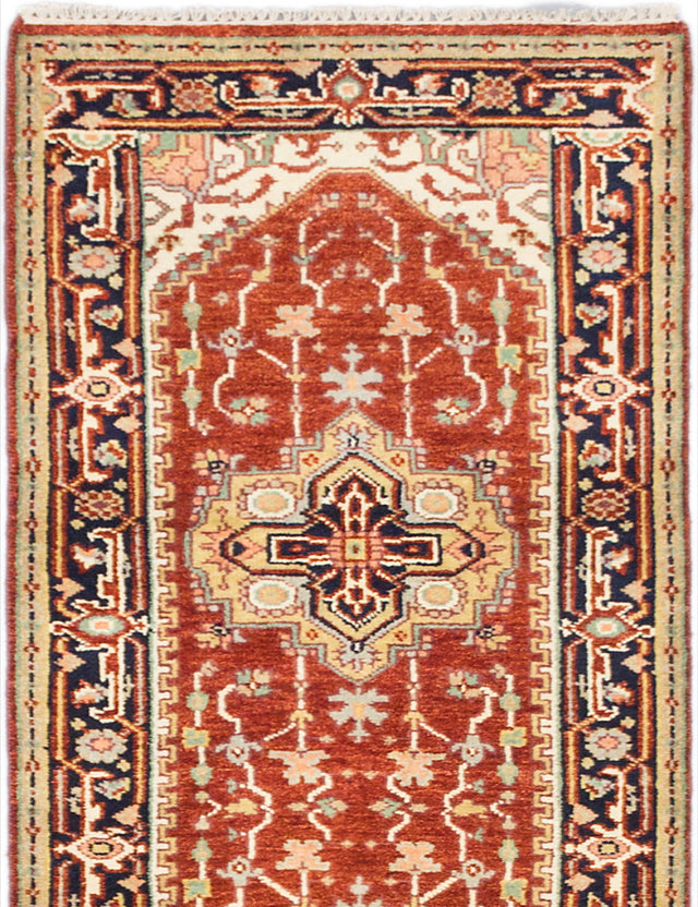 "Hand-knotted Indian Floral  Traditional Serapi-Heritage Runner rug  Dark Orange 2'8 x 10'0"" """