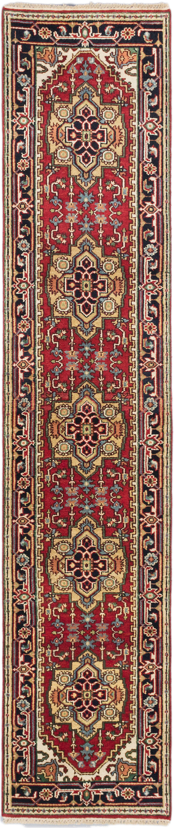 "Hand-knotted Indian Floral  Traditional Serapi-Heritage Runner rug  Black, Dark Red 2'6 x 11'9"" """