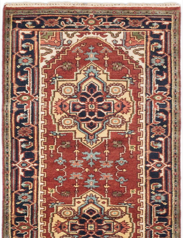 "Hand-knotted Indian Floral  Traditional Serapi-Heritage Runner rug  Dark Orange 2'8 x 10'4"" """