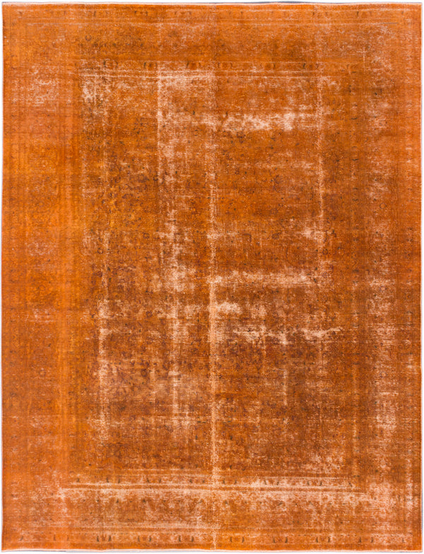 Hand-knotted Turkish Traditional Color-Transition Area rug  Dark Orange 9.4 x 12.4