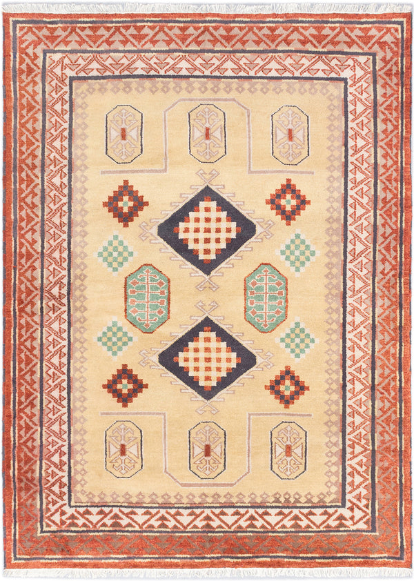 Hand-knotted Indian Traditional Royal-Kazak Area rug  Copper, Light Khaki 5.9 x 7.11